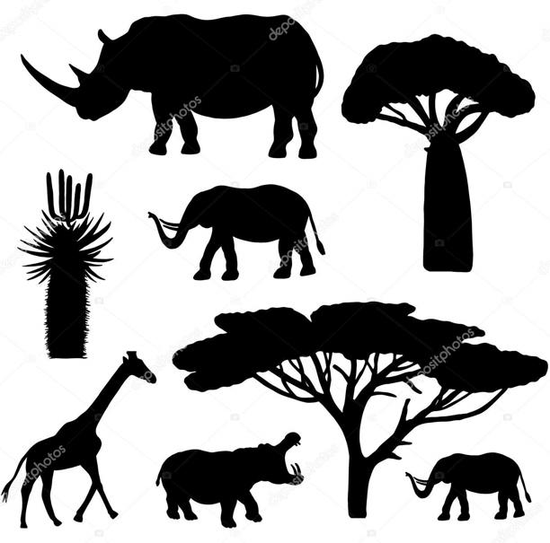 Animaux d afrique silhouette