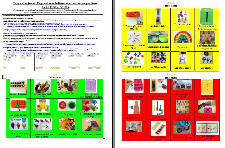 Défis boîtes type Montessori