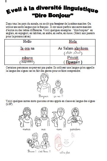 Eveil a la diversite linguistique maternelle